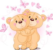 Teddy bears in love stock illustration