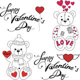 Teddy bears in love. Isolated illustration of cartoon teddy bears are in love on the Saint Valentines Day. Vector stock illustration