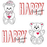 Teddy bears in love. Isolated illustration of cartoon teddy bears are in love on the Saint Valentines Day. Vector vector illustration