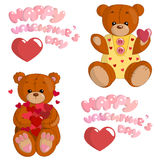Teddy bears in love. Isolated illustration of cartoon teddy bears are in love on the Saint Valentines Day. Vector royalty free illustration