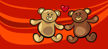 Teddy bears in love valentine card Royalty Free Stock Photography