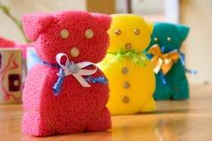 Teddy bears made of sponge Stock Photos