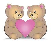 Teddy Bears med hjärta Arkivfoto