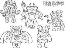 Teddy bears monsters set of drawings. Cartoon teddy bears monsters set of drawings Royalty Free Stock Photography