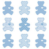 Teddy Bears, Pastel Blue. Teddy Bears with big hearts in pastel blue polka dots and gingham for scrapbooks, albums, arts and crafts. EPS8 in groups for easy Royalty Free Stock Images