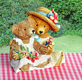 Teddy bears picnic. Photo of two romantic teddy bears sitting on a pink gingham cloth in the garden and picking summer flowers Stock Images