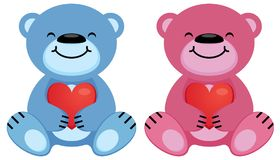 Teddy bears pink and blue hold the heart symbol in their paws. Vector illustration Royalty Free Stock Images