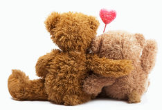 Teddy Bears with pink love heart Royalty Free Stock Photo