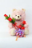 Teddy bears, pink and red roses and gift box. Teddy bears, pink and red roses and gift box on a white background Royalty Free Stock Photos