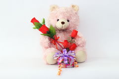 Teddy bears, pink and red roses and gift box. Teddy bears, pink and red roses and gift box on a white background Stock Photos