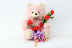 Teddy bears, pink and red roses and gift box. Teddy bears, pink and red roses and gift box on a white background Stock Images