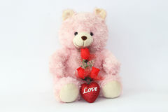 Teddy bears, pink and red roses Stock Photos