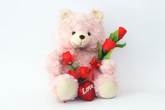 Teddy bears, pink and red roses. Royalty Free Stock Image