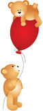 Teddy bears playing with balloon. Scalable vectorial image representing a teddy bears playing with balloon,  on white Stock Image