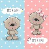 Teddy Bears pojke och flicka Fotografering för Bildbyråer
