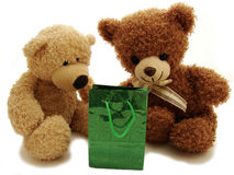 Teddy bears & present Royalty Free Stock Images