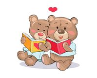 Teddy Bears Read Books con il vettore del segno del cuore Fotografie Stock