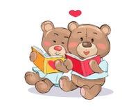 Teddy Bears Read Books mit Herz-Zeichen-Vektor Stockfotos