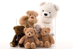 Teddy bears and retro bed. royalty free stock photo