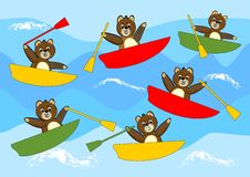 Teddy bears rowing cheerful multicolored boats and competing on sea waves. Beautiful children illustration. royalty free stock photos