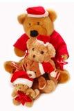 Teddy bears in santa hat Stock Photos
