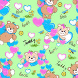 Teddy bears seamless pattern stock image