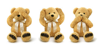 Teddy bears see hear speak no evil Royalty Free Stock Image