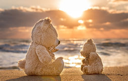 Teddy bears sitting on the beautiful beach with love. Concept ab Royalty Free Stock Image