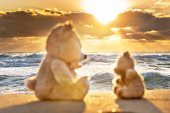 Teddy bears sitting on the beautiful beach with love. Concept about love and relationship Royalty Free Stock Photography