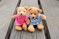 Teddy bears. Sitting in the garden Royalty Free Stock Images