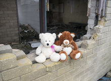 Teddy Bears Sitting On Smashed Derelict Abandoned Building Wall Royalty Free Stock Photography