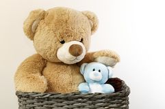 Teddy bears, brown, and blue. stock photography