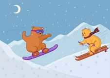 Teddy bears ski in mountains, night Stock Photo