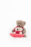 Teddy Bears Sledding Royaltyfria Bilder