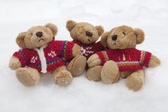 Teddy Bears in the Snow Stock Photo