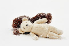 Teddy bears in snow Royalty Free Stock Photos