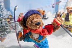 Teddy bears are snow skiing. Stock Photos