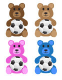Teddy Bears With Soccer Balls Fotografia Stock