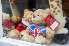 Teddy Bears in a souvenir shop window. Stock Photo