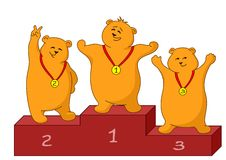Teddy bears sportsmans. Sports picture: teddy bears sportsmans stand on a podium Royalty Free Stock Photos