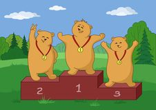 Teddy bears sportsmans, contours. Sports  cartoon: teddy bears sportsmen stand on a podium in forest Stock Photography