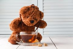 Teddy bears tea party. On table stock images