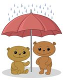 Teddy bears and umbrella Royalty Free Stock Photos