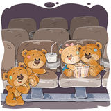 Teddy bears are watching a movie. Vector illustrations of teddy bears are watching a movie Royalty Free Stock Image