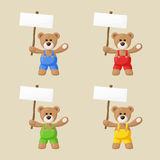 Teddy Bears with White Signboards Stock Photos