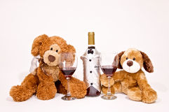 Teddy Bears with Wine. Teddy Bears with a Wine glass and bottle Royalty Free Stock Images