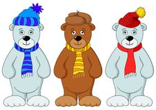 Teddy bears in winter costume Royalty Free Stock Images