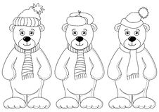 Teddy bears in winter costume, contours Stock Photos