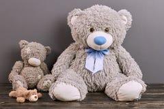 Teddy bears on wooden surface. Stock Photos