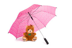 Teddy Beear Under Umbrella Royalty Free Stock Photography